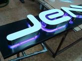 Plastické písmo z leštěné nerezi pdsvícené LED